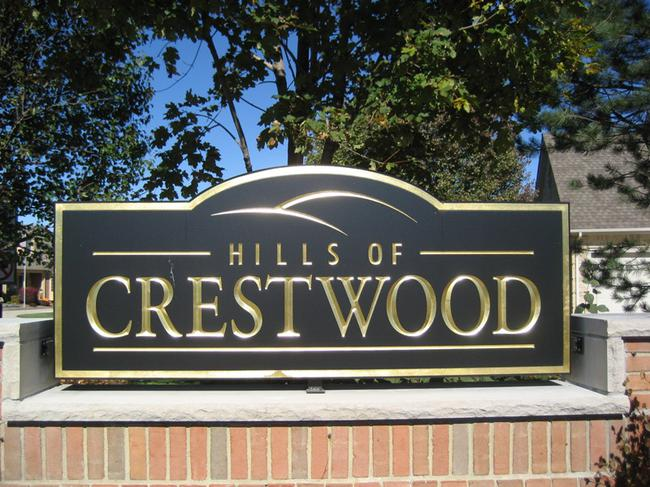 Hills of Crestwood, Northville MI. Subdivision entrance.