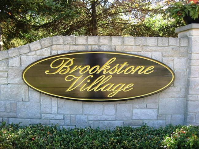 Brookstone Village, Northville MI neighborhood. Subdivision entrance.