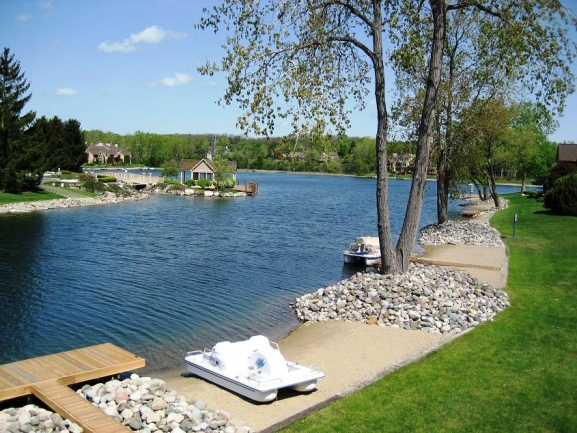 Blue Heron Pointe condos, Northville MI. View of the water.