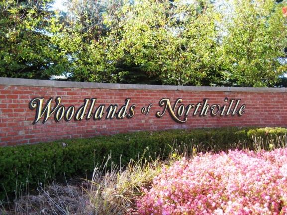 Woodlands of Northville, MI condos subdivision entrance