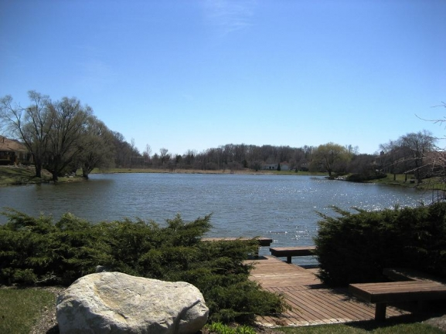 Crosswinds West, Novi MI condos. Pond view.