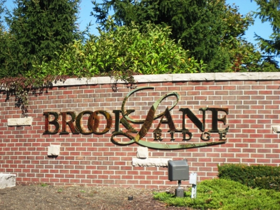 Brooklane Ridge Neighborhood, Northville MI. Subdivision entrance.