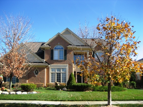 Brookstone Village neighborhood, Northville MI. Home elevation.